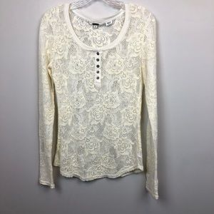 Miss Me Ivory Sheer Floral Long Sleeve Top M